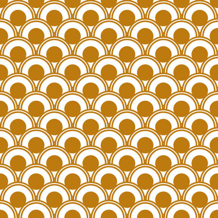 Art Deco seamless gold pattern in 1920s style, geometric retro background with gold circles. Vector illustration Иллюстрация