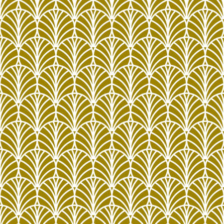 Golden fan art deco pattern, abstract seamless art nouveau pattern with fans, retro background Illustration