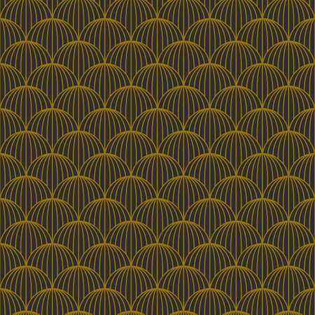 Art Deco seamless golden pattern in 1920s style, geometric retro background with gold line circles. Vector illustration