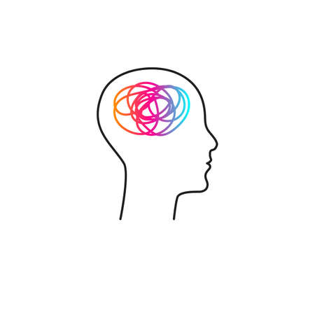 Brain activity abstract creative icon, concept of mental health, symbol of thinking, active mind