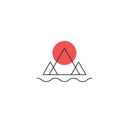 Mountains, river and sun minimal icon Ilustrace
