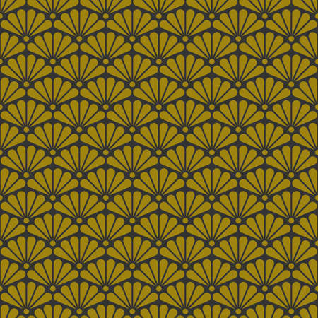 Geometric retro background with gold fans, art deco seamless gold pattern