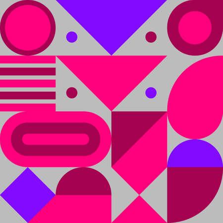 Bauhaus print, geometric seamless retro pattern with shapes