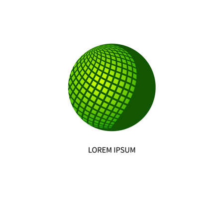 networking icon with green sphere Ilustrace