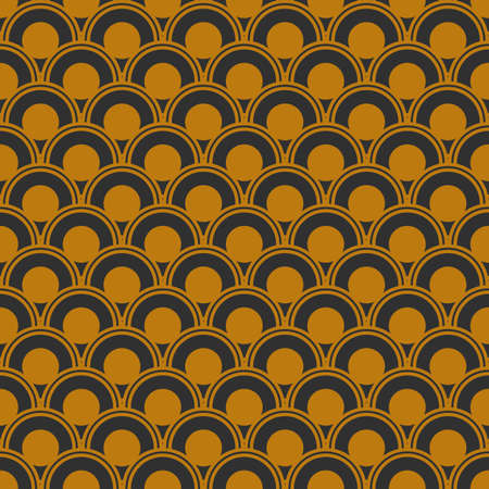 Art Deco seamless gold pattern in 1920s style, geometric retro background with gold circles. Vector illustration Ilustrace