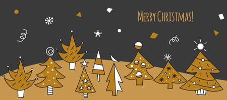 Christmas greeting card with Doodle trees. Hand drawn Christmas banner. Winter forest background