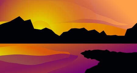 Abstract minimal landscape with mountains and river, lake or sea, geometric cartoon summer landscape Illusztráció