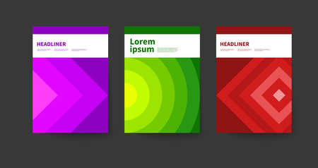 Geometric cover of catalog, annual report, or brochure ib Bauhaus style. Modern template with geometric shapes, circles and triangles