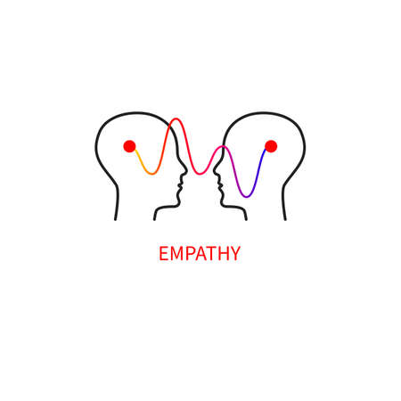 Logo empathy. Interpersonal communication abstract icon. Two profiles and a wave. Ilustrace