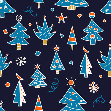 Christmas tree doodles seamless pattern for greeting cards or banners. Hand drawn print with Christmas trees for wrapping paper, textiles