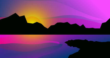 geometric cartoon summer landscape