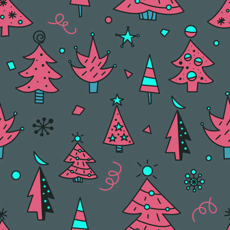 Christmas tree doodles seamless pattern