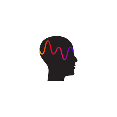 Brain activity and wave, profile of person with mental activity