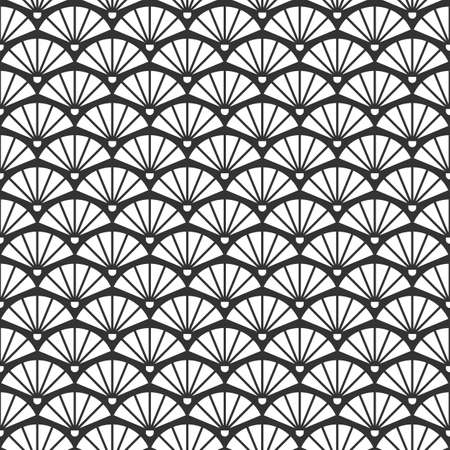 Geometric seamless vintage pattern with fans Vettoriali