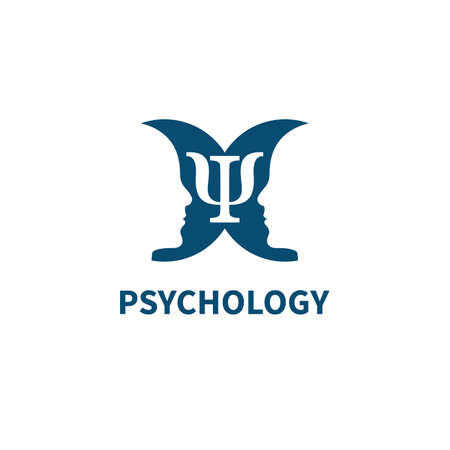 Psychology sign with two mirror profiles