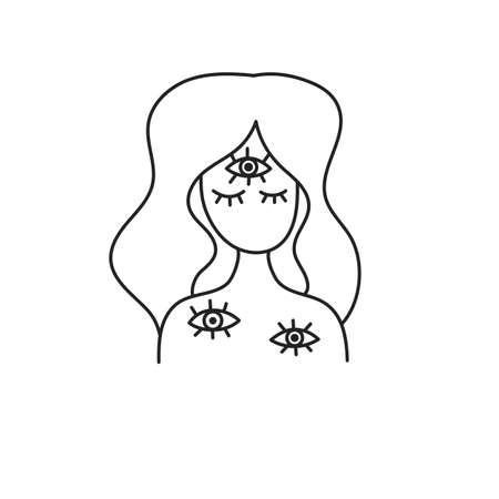 Schizophrenia illustration. Woman with third eye Illusztráció