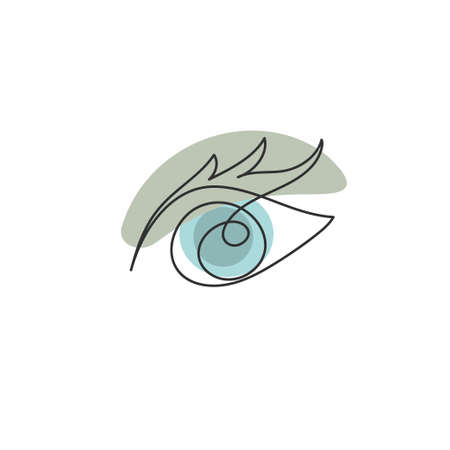 Doodle eye drawn by hand with continuous line