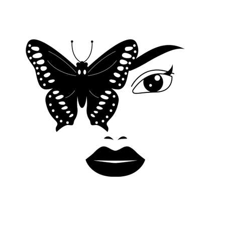 Beautiful print of girls face with butterfly