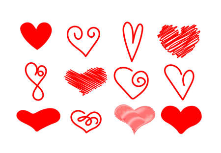 Hand drawn set of hearts. Red hearts, element for valentines day