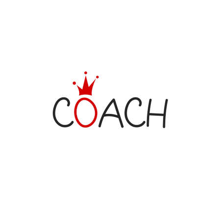 Creative lettering coach with crown vector icon 矢量图像