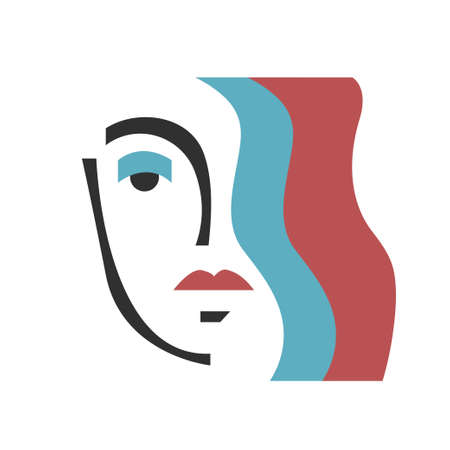 Poster with stylized girls face. Modern minimal art