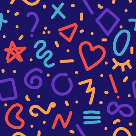 Memphis doodle background. Seamless pattern for fabric design 向量圖像