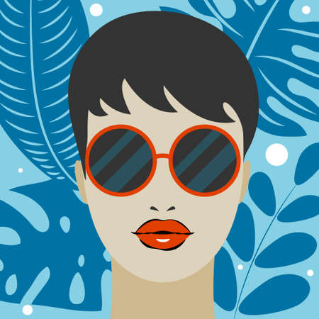 Portrait of beautiful girl in sunglasses on background of leaves 矢量图像