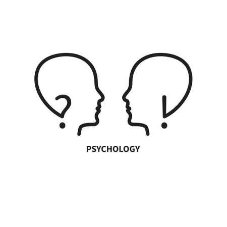 Logo of empathy, emotional intelligence. Two profiles