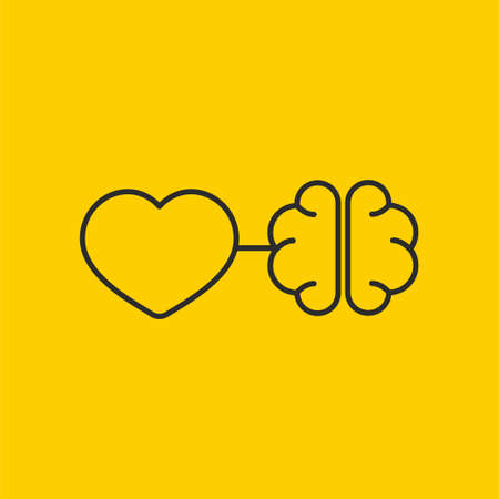 Connection between mind and senses. Connected heart and brain 矢量图像