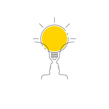Therapy icon. Two profiles and lamp. Coaching or mentoring concept