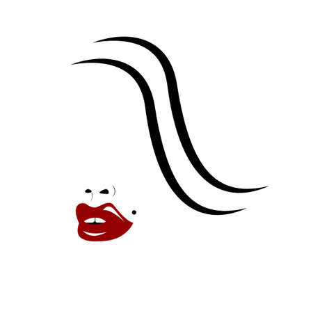 Girl with wavy hair and red lips 矢量图像