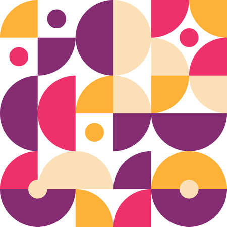 Retro pattern in style of 60s, 70s. Bauhaus seamless color geometric background 向量圖像