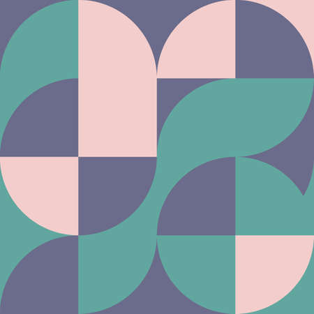 Geometric square pattern in Bauhaus style with circles 向量圖像