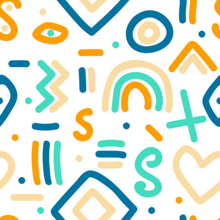 Naive simple seamless pattern with hand drawn abstract shapes 向量圖像