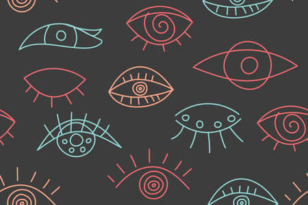 Seamless abstract fashion pattern with line eyes 向量圖像