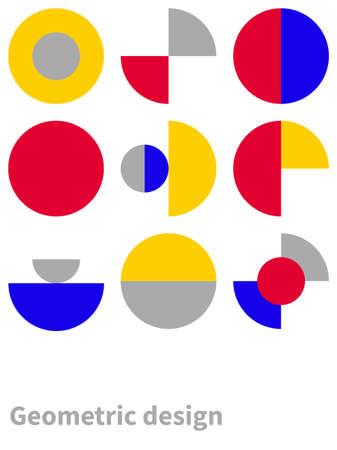 Trendy bauhaus pattern. Bauhaus poster. Vector geometric abstract circle shapes