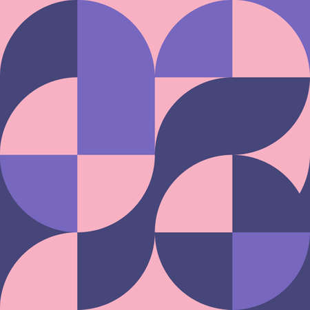 Geometric square pattern in Bauhaus style with circles Vettoriali