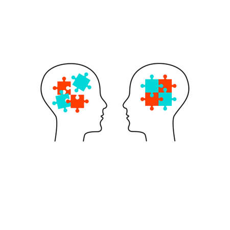 Life coach icon. Two profiles with puzzle Vettoriali