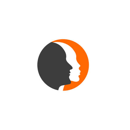 Man and woman logo. Male and female profiles Vettoriali