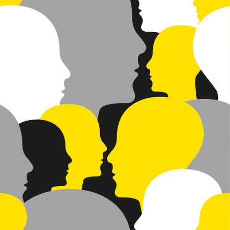Crowd of people seamless pattern. Background for marketing agency