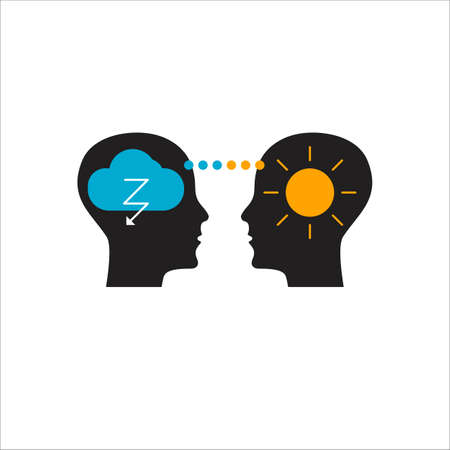 Logo of empathy, emotional intelligence. Two profiles and relationship between them