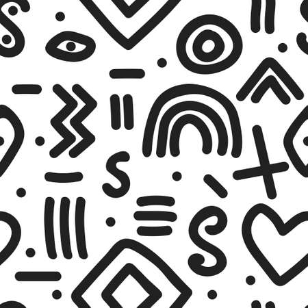 Naive simple seamless pattern with hand drawn abstract shapes Vettoriali