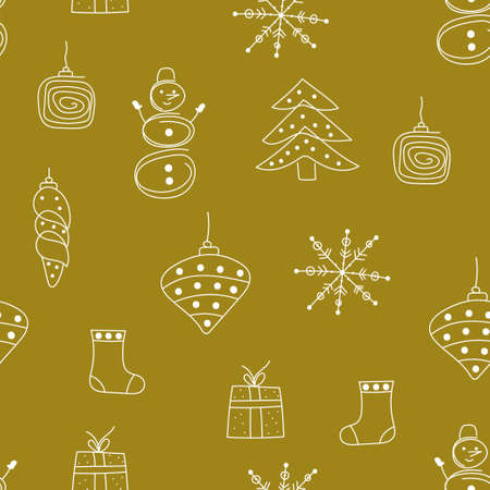 Christmas hand drawn seamless pattern with christmas tree toys, snowflakes and gift