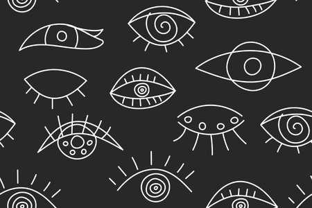 Seamless abstract fashion pattern with line eyes 矢量图像