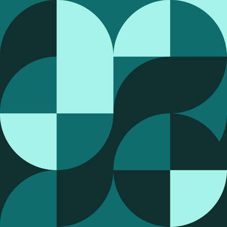 Geometric square pattern in Bauhaus style with circles. Geometric background. Element of graphic retro design. Composition with shapes. Vettoriali