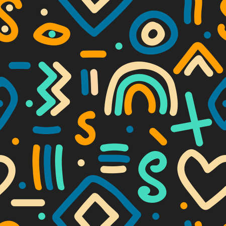 Naive simple seamless pattern with hand drawn abstract shapes 矢量图像