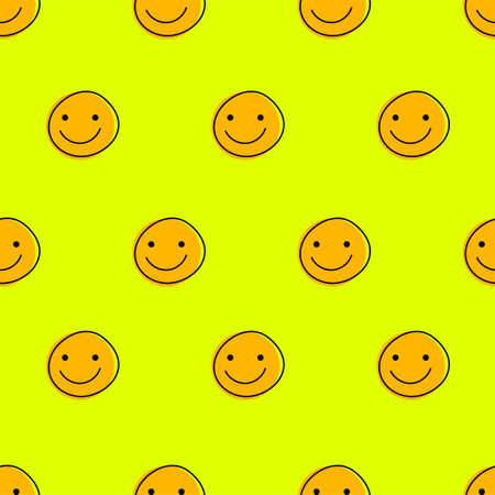 Funny faces with smiles seamless pattern