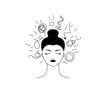 Woman with bad thoughts and problems. Line illustration of anxiety Vettoriali