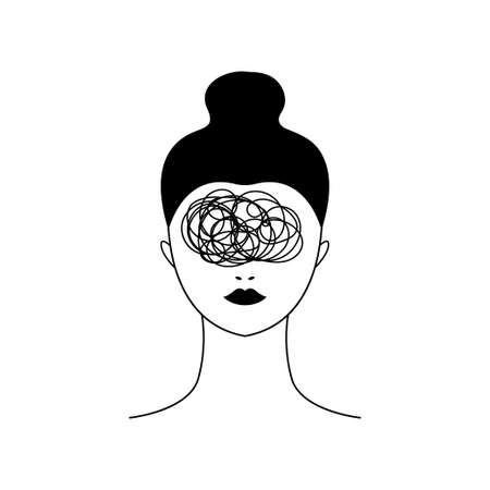 Woman with bad thoughts and problems. Line illustration of anxiety and depression