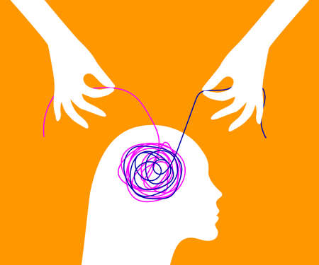 Decision of psychological problems concept. Therapist unraveling tangle 矢量图像
